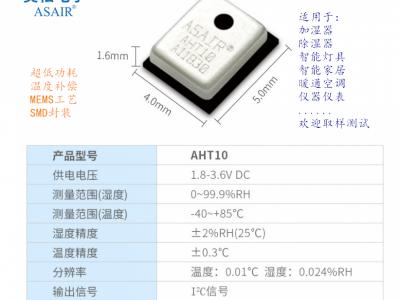 AHT10集成式温湿度传感器,贴片封装
